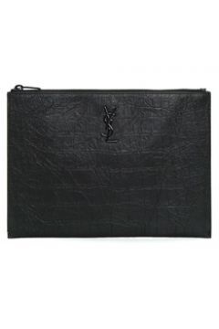 Saint Laurent Erkek Monogram Siyah Dokulu Deri El Portföyü EU(119942973)