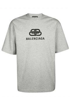 Balenciaga Erkek Regular Fit Gri Melanj Logolu Basic T-shirt S EU(114438646)