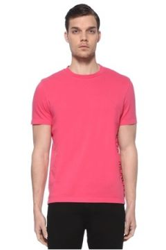 Moncler Erkek Pembe Şerit Logo Detaylı Basic T-shirt L EU(114438940)