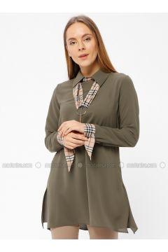 Khaki - Point Collar - Tunic - REPP(110339136)
