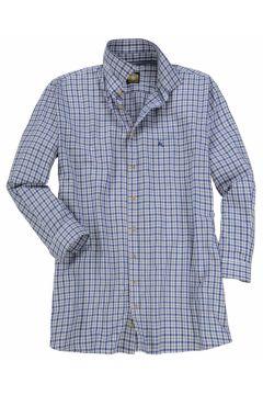 Hammerschmid: Traditionelles Trachtenhemd mit dezenter Hirsch-Stickerei, langarm, 6XL, Blau/grau(121716420)