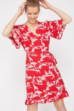 Koton Kruvaze Desenli Kırmızı Elbise(113977407)