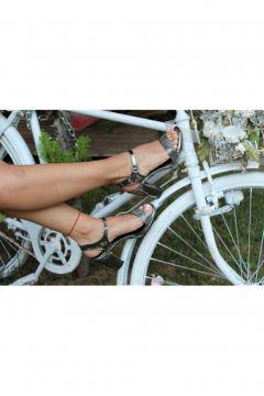 Dizzy Kadın Platin Taşlı Topuklu Ayakkabı(119319315)