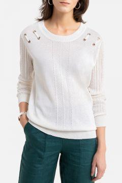 Jersey de punto fino de lino y algodón con cuello redondo(108523019)