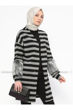 Gray - Stripe - Cotton - Cardigan - Mileny(110314019)