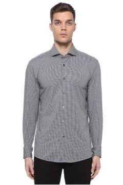 Boss Erkek Slim Fit Siyah Beyaz Yarı İtalyan Yaka Gömlek 40 IT(108972777)
