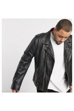 Bolongaro Trevor Plus - Giacca biker in pelle con dettagli anticati-Nero(120238858)