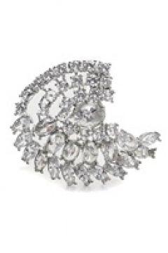 Beymen Collection Kadın Silver Geometrik Formlu Taşlı Broş Gri EU(121159521)