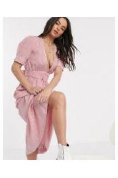 Neon Rose - Vestito a quadretti al polpaccio con scollo profondo cintura e finiture in pizzo-Rosa(120331507)