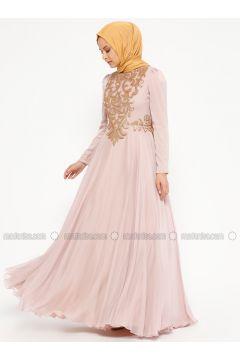 Powder - Fully Lined - Crew neck - Muslim Evening Dress - An-Nahar(110319390)