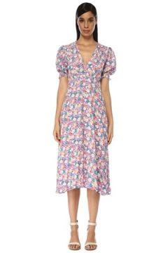 Faithfull The Brand Kadın Marie Louis Lila Çiçek Desenli Midi Elbise Mor L EU(119229991)