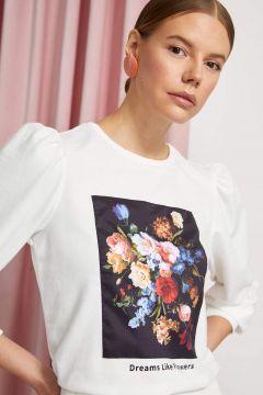 DeFacto Kadın Balon Kol Baskılı Sweatshirt(119063606)