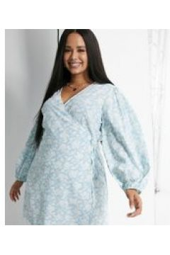 Glamorous Curve - Vestito corto a portafoglio a fiori con maniche a palloncino-Blu(120330000)