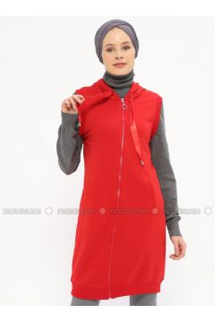 Red - Unlined - Vest - Nefise(110320886)