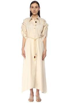 Nanushka Kadın Hanna Ekru Kol Detaylı Maksi Poplin Elbise Bej XS EU(116947972)