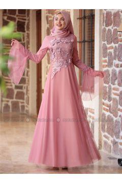 Powder - Fully Lined - Crew neck - Muslim Evening Dress - Piennar(110314314)