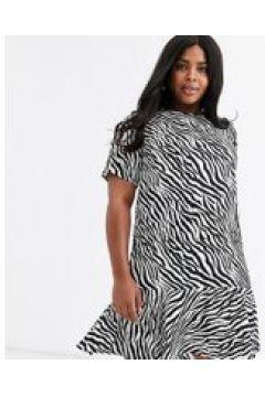 AX Paris Plus - Vestito svasato zebrato con fondo asimmetrico-Multicolore(120329573)