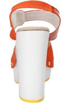 Sandales Suky Brand sandales orange textile cuir verni AC802(115394058)