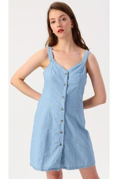 Vero Moda Önden Düğmeli Açık Mavi Elbise(113981002)