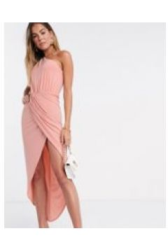 Club L - Vestito midi a portafoglio monospalla arricciato rosa cipria(120323588)