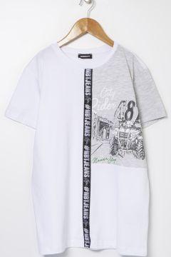 Nebbati B&G Beyaz Erkek Çocuk T-Shirt(114005891)