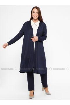 Navy Blue - Viscose - Plus Size Cardigan - Efraze(110329586)