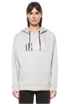 Allsaints Kadın Gri Kapüşonlu Logo Baskılı Sweatshirt S EU(124607211)
