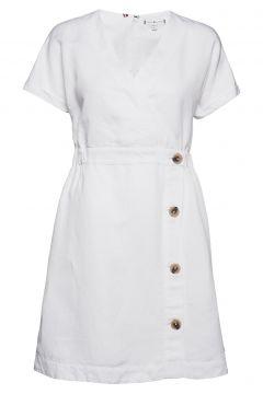 Linen Tencel Ss Dress Kleid Knielang Weiß TOMMY HILFIGER(116334596)