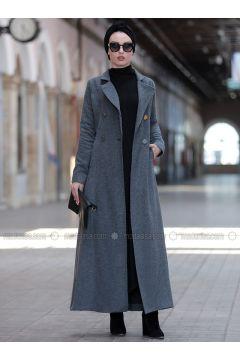 Gray - Fully Lined - Coat - Rana Zenn(110331719)