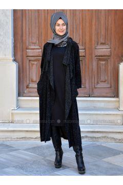 Black - Wool Blend - Acrylic - Cardigan - Henna Elısa(110320053)