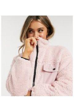 Wednesday\'s Girl - Giacca oversize in pelliccia sintetica con zip e tasche-Rosa(121963588)