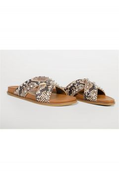 Shoes & More Kadın Kahverengi Hakiki Deri Terlik(124639222)