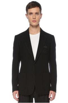 Dolce&Gabbana Erkek Siyah Kelebek Yaka Logolu Yün Ceket 50 IT(123205230)