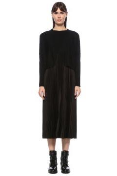 Allsaints Kadın Lori Pelerin Detaylı Pilili Yün Midi Triko Elbise Siyah S EU(124607210)