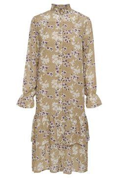 ONLY Print Kleid Mit Langen Ärmeln Damen Beige(125166879)