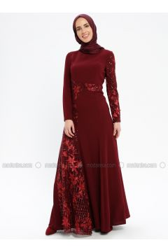Maroon - Fully Lined - Crew neck - Muslim Evening Dress - Pia(110335752)
