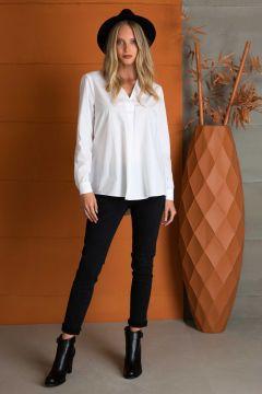 Pierre Cardin Sırt Detaylı V Yaka Beyaz Bluz(122081620)