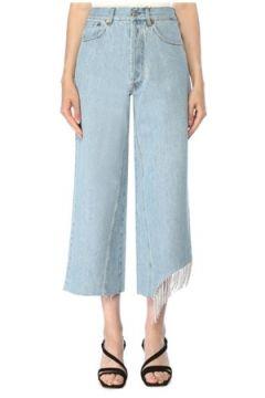 Forte Couture Kadın Paçası Taş Püskül Detaylı Crop Jean Pantolon Mavi 28 US(117384881)