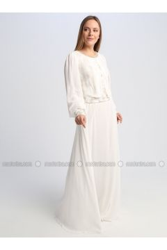 White - Fully Lined - Crew neck - Muslim Evening Dress - Le Mirage(110337541)