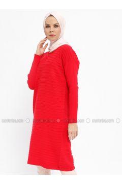 Red - Crew neck - Acrylic -- Tunic - Nefise(110335333)