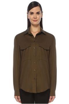 Outpost Kadın Haki Cep Detaylı Bol Kesim Gömlek 42(118330053)