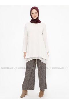 Maroon - Multi - Viscose - Pants - Tekbir(110335698)