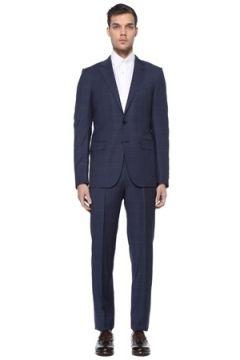 Zegna Erkek Lacivert Ekose Desenli Yün Takım Elbise 56 IT(114439321)