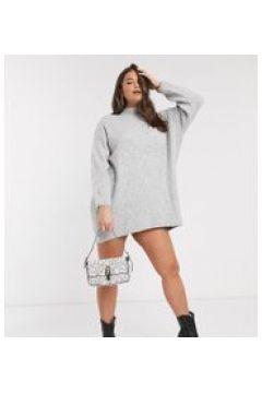 River Island Plus - Vestito in maglia con bottoni sulla spalla grigio(120327994)
