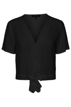 VERO MODA Cropped Geknoopt Overhemd Dames Zwart(114504614)