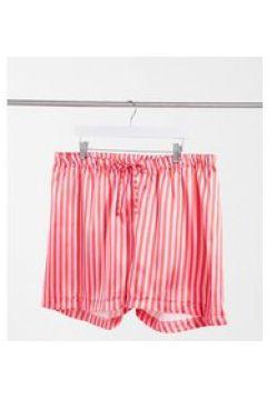 Outrageous Fortune Plus - Pantaloncini da notte in raso a righe rosa-Multicolore(123495192)