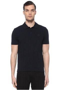 Moncler Erkek Lacivert Polo Yaka Logo Patchli T-shirt L EU(114438946)