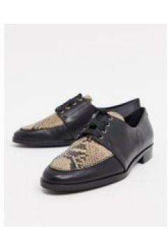 Karen Millen - lola jayne - Scarpe stringate in pelle nera pitonata-Nero(121503404)