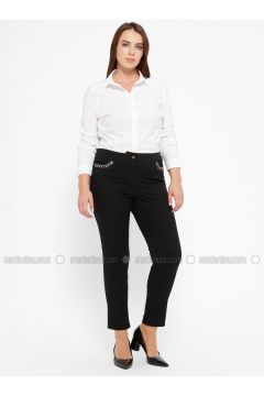 Black - Plus Size Pants - CARİNA(110320132)