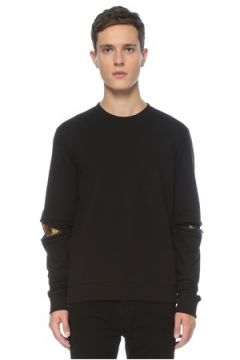 Fendi Erkek Siyah Bisiklet Yaka Göz Detaylı Sweatshirt S EU(123205187)